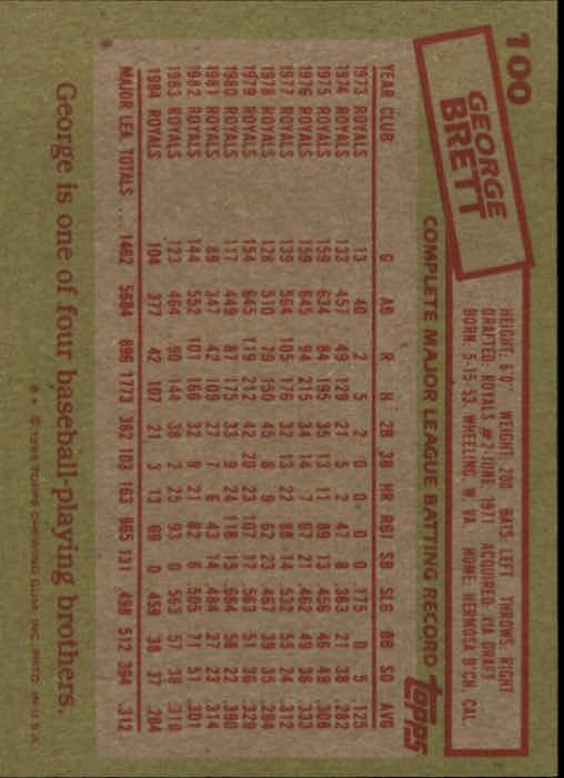 1985 Topps #100 George Brett back image