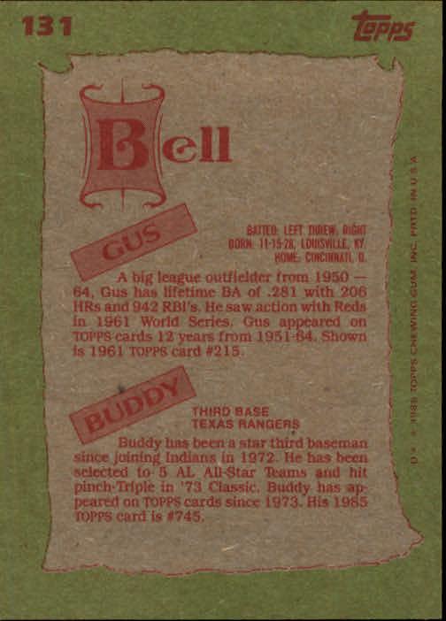 1985 Topps #131 Buddy/Gus Bell FS back image