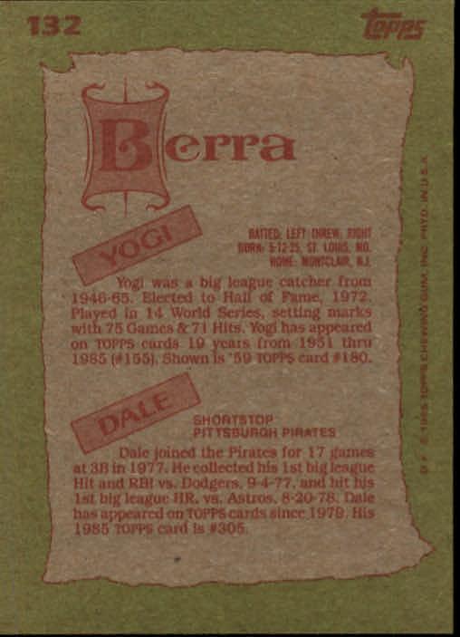 1985 Topps #132 Yogi/Dale Berra FS back image