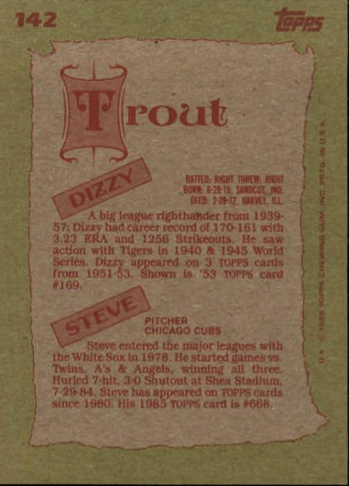1985 Topps #142 Steve/Dizzy Trout FS back image