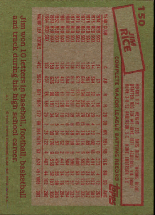 1985 Topps #150 Jim Rice back image