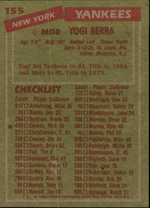 1985 Topps #155 Yogi Berra MG back image