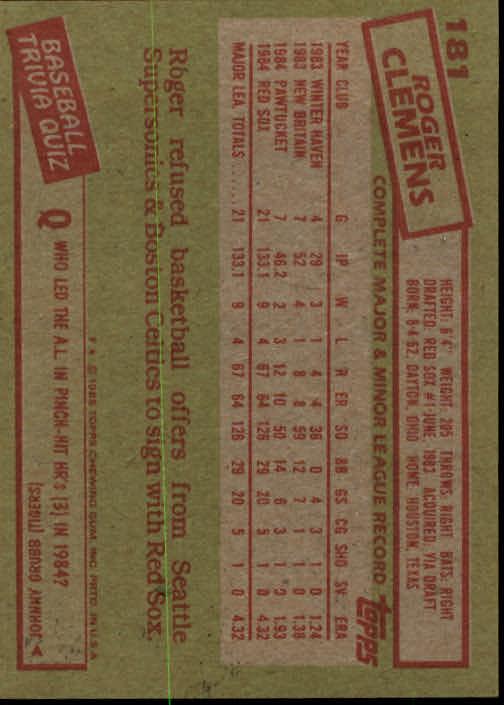 1985 Topps #181 Roger Clemens RC back image