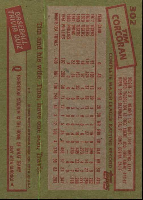 1985 Topps #302 Tim Corcoran back image