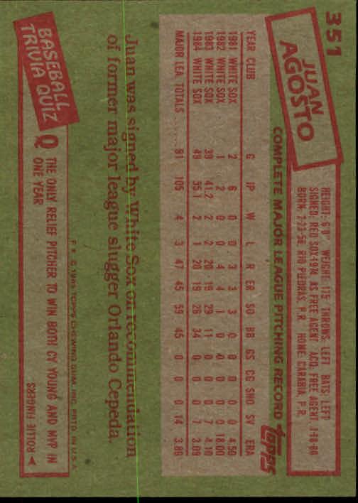 1985 Topps #351 Juan Agosto back image