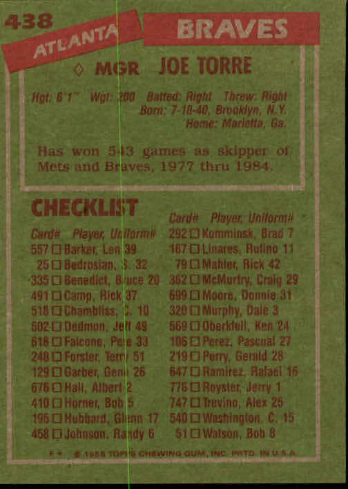 1985 Topps #438 Joe Torre MG back image
