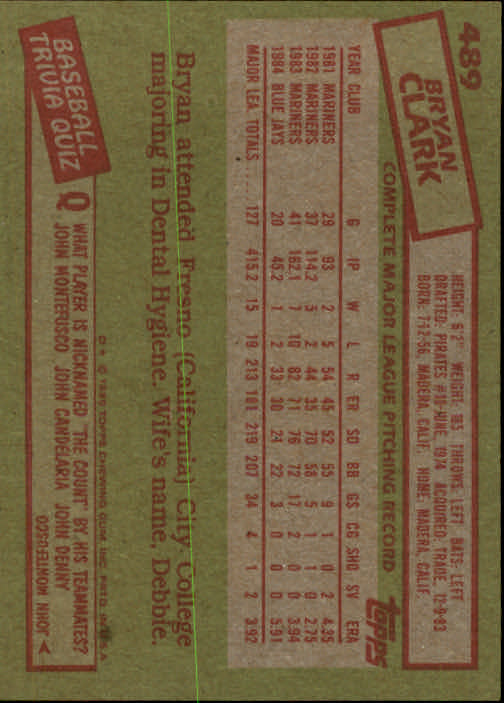1985 Topps #489 Bryan Clark back image