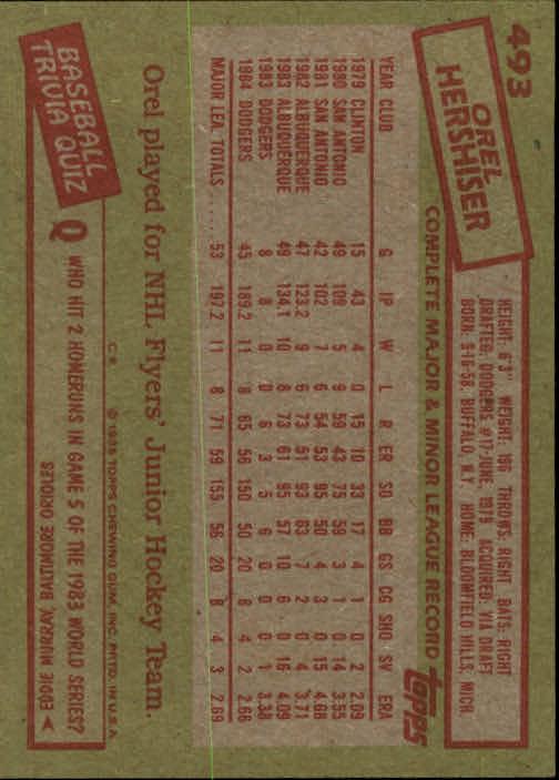 1985 Topps #493 Orel Hershiser RC back image
