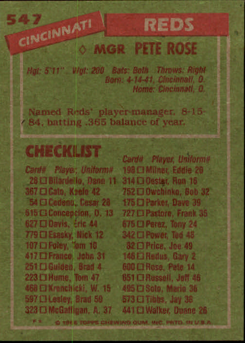 1985 Topps #547 Pete Rose MG back image