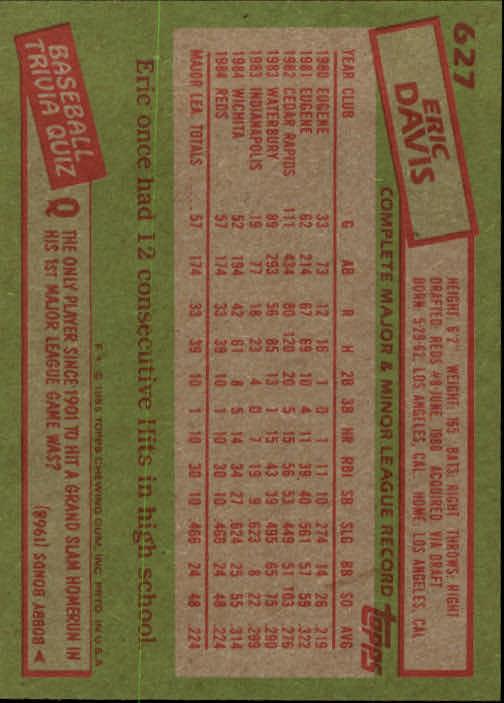1985 Topps #627 Eric Davis RC back image