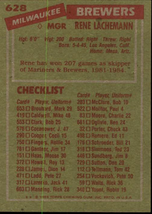 1985 Topps #628 Rene Lachemann MG back image