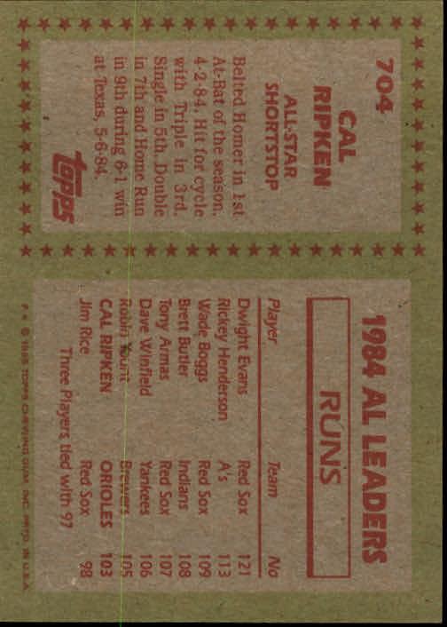 1985 Topps #704 Cal Ripken AS back image