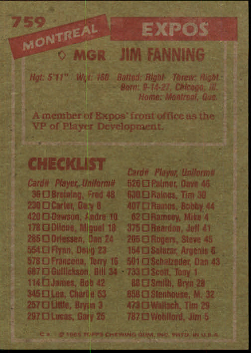 1985 Topps #759 Jim Fanning MG back image