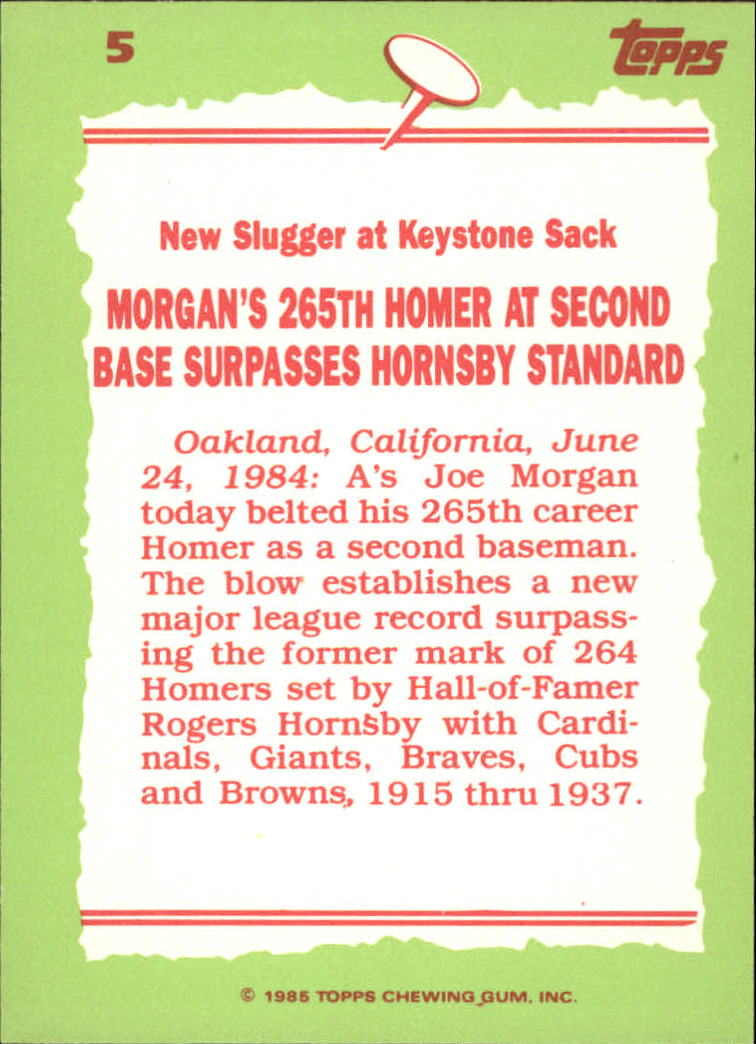 1985 Topps Tiffany #5 Joe Morgan RB back image