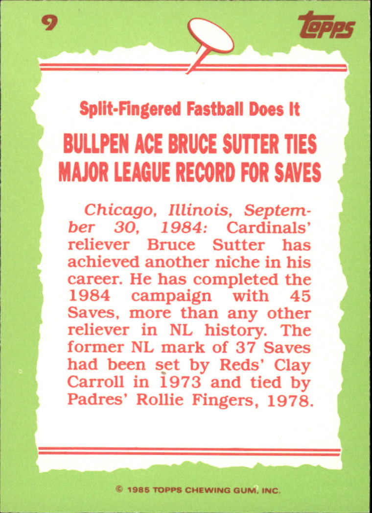 1985 Topps Tiffany #9 Bruce Sutter RB/Most saves&/season& NL back image