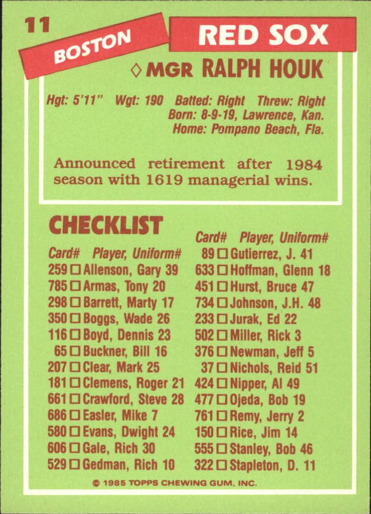 1985 Topps Tiffany #11 Ralph Houk MG/(Checklist back) back image