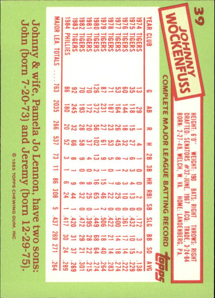 1985 Topps Tiffany #39 John Wockenfuss back image