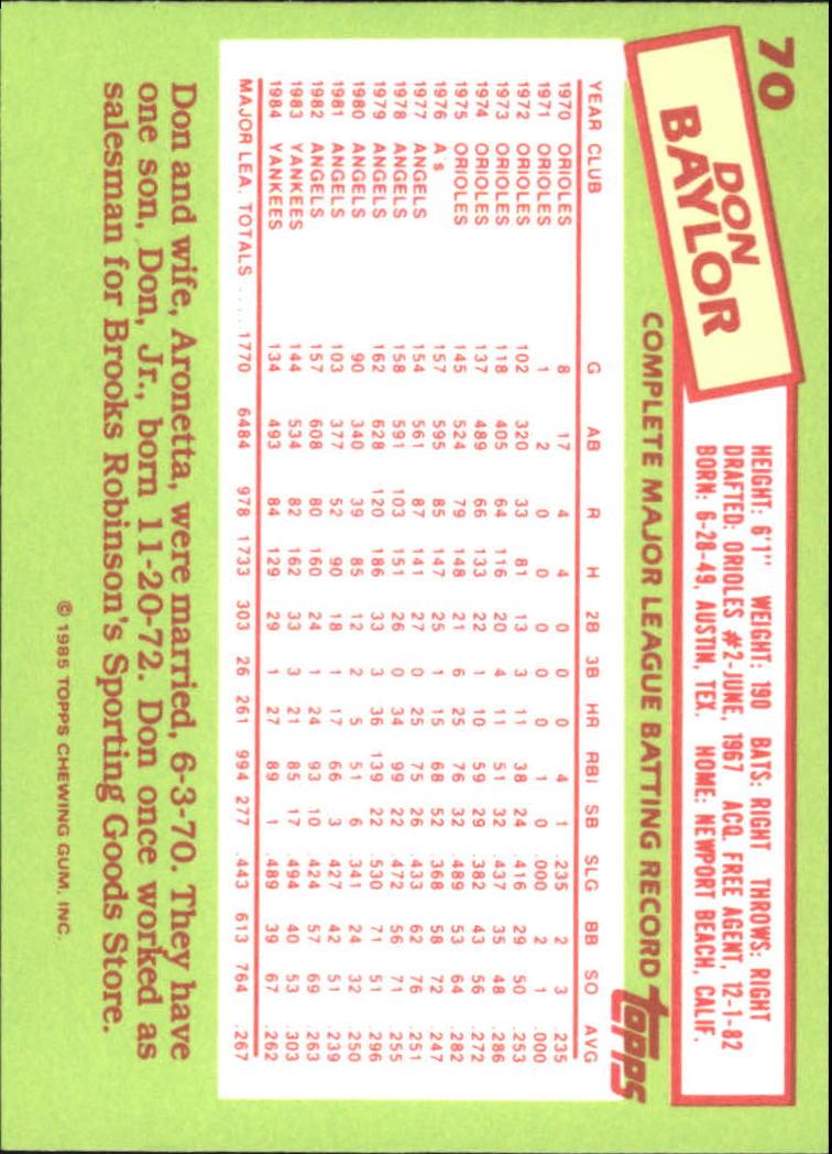 1985 Topps Tiffany #70 Don Baylor back image
