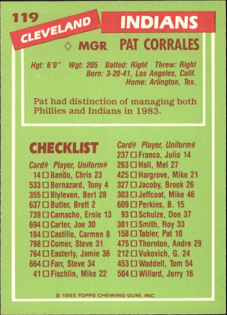 1985 Topps Tiffany #119 Pat Corrales MG/(Checklist back) back image