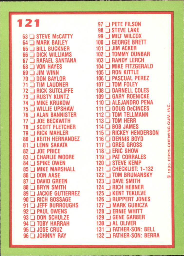 1985 Topps Tiffany #121 Checklist: 1-132 back image