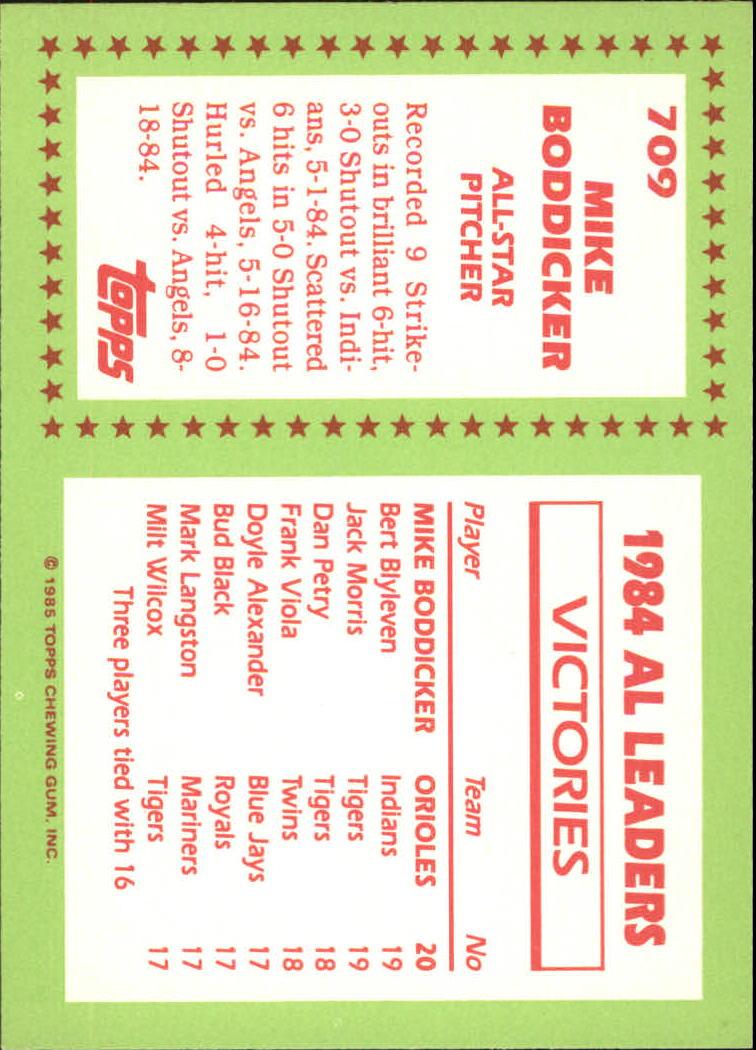1985 Topps Tiffany #709 Mike Boddicker AS back image