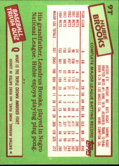 1985 Topps Traded #9T Hubie Brooks back image