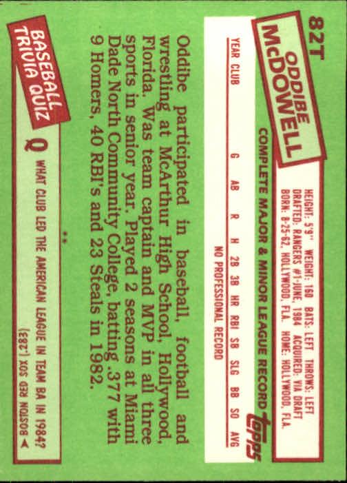1985 Topps Traded #82T Oddibe McDowell back image
