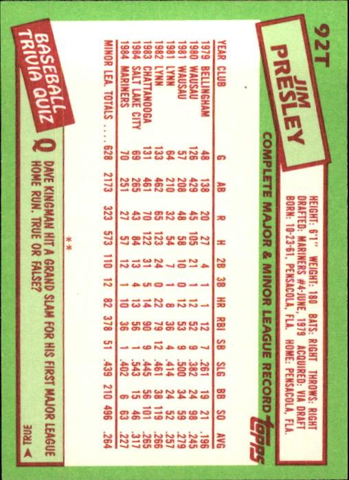1985 Topps Traded #92T Jim Presley back image