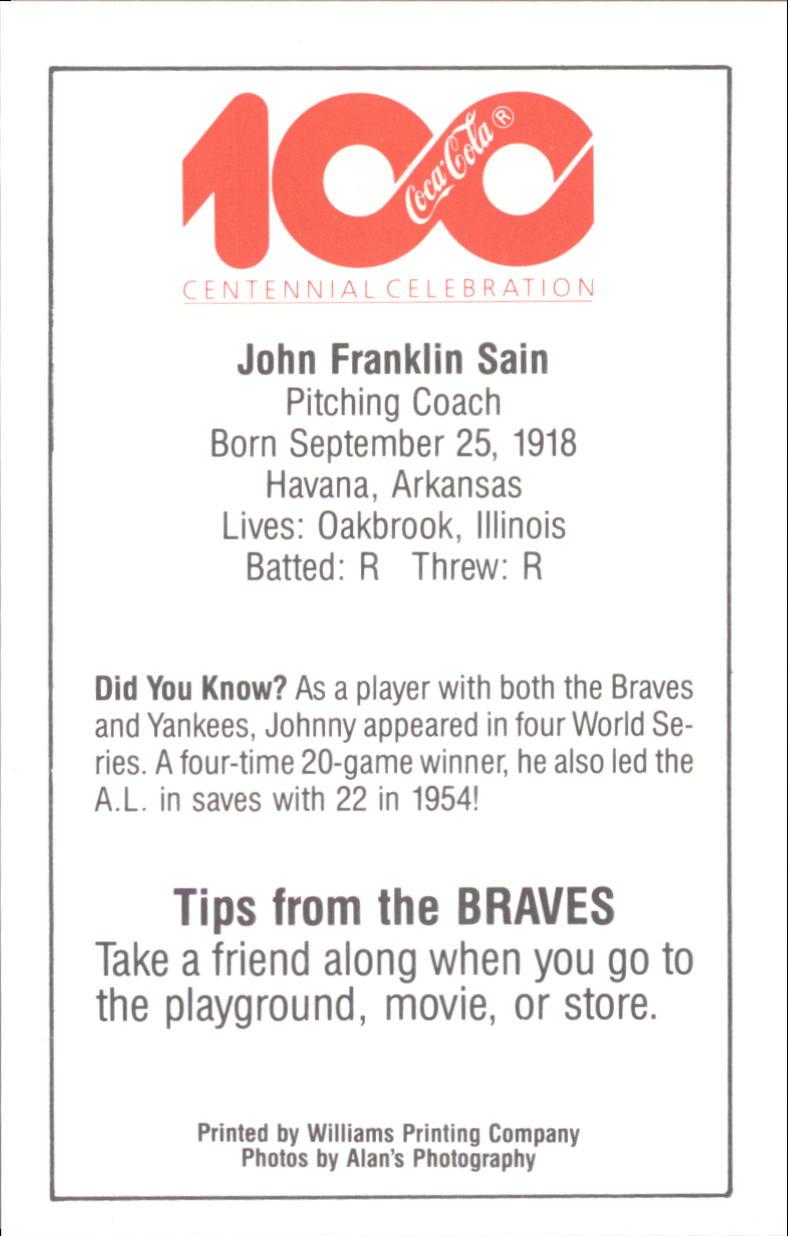 1986 Braves Police #33 Johnny Sain CO back image