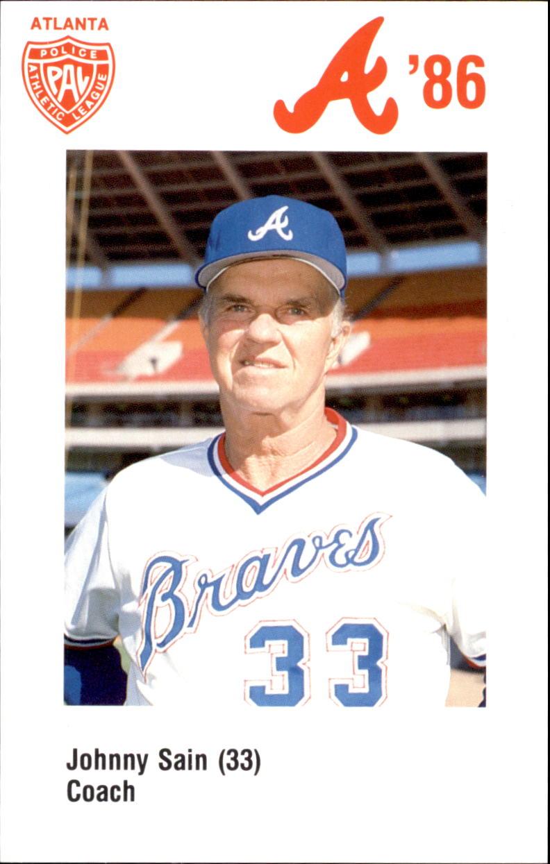 1986 Braves Police #33 Johnny Sain CO