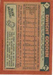 1986 Topps Wax Box Cards #F Dwight Gooden back image
