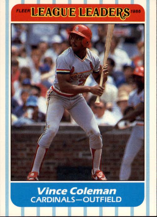1986 Fleer League Leaders #7 Vince Coleman