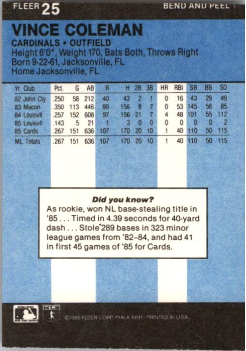1986 Fleer Star Stickers #25 Vince Coleman back image