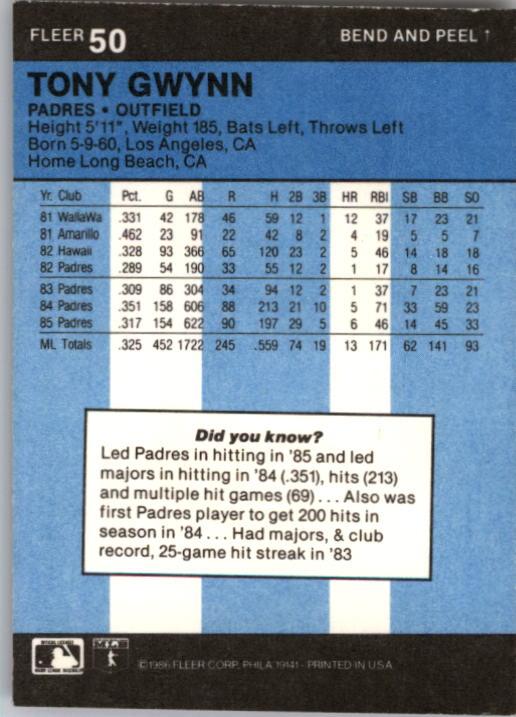 1986 Fleer Star Stickers #50 Tony Gwynn back image
