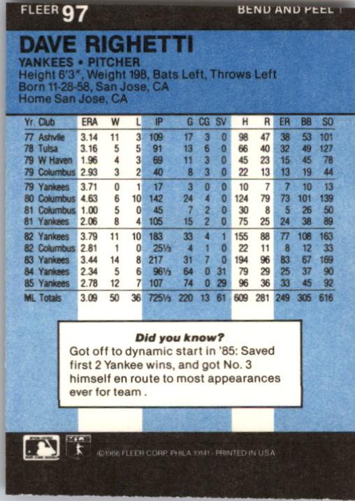 1986 Fleer Star Stickers #97 Dave Righetti back image