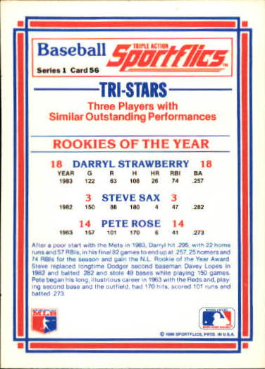 1986 Sportflics #56 ROY Pete Rose back image