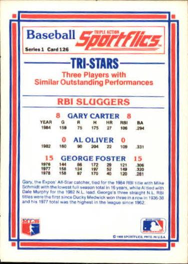1986 Sportflics #126 RBI Sluggers back image