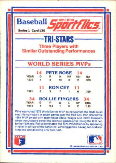 1986 Sportflics #130 WS MVP's Pete Rose back image