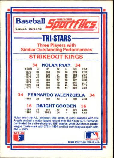 1986 Sportflics #143 Strikeout Kings Nolan Ryan back image