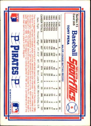 1986 Sportflics #165 Tony Pena back image