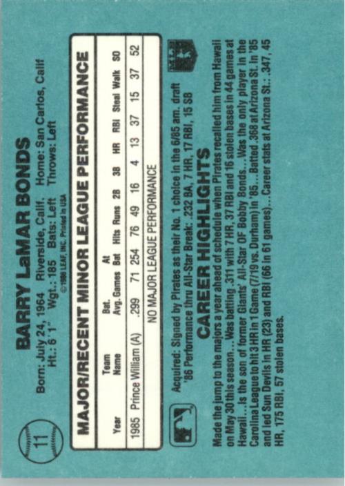 1986 Donruss Rookies #11 Barry Bonds XRC back image