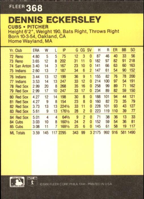 1986 Fleer #368 Dennis Eckersley back image