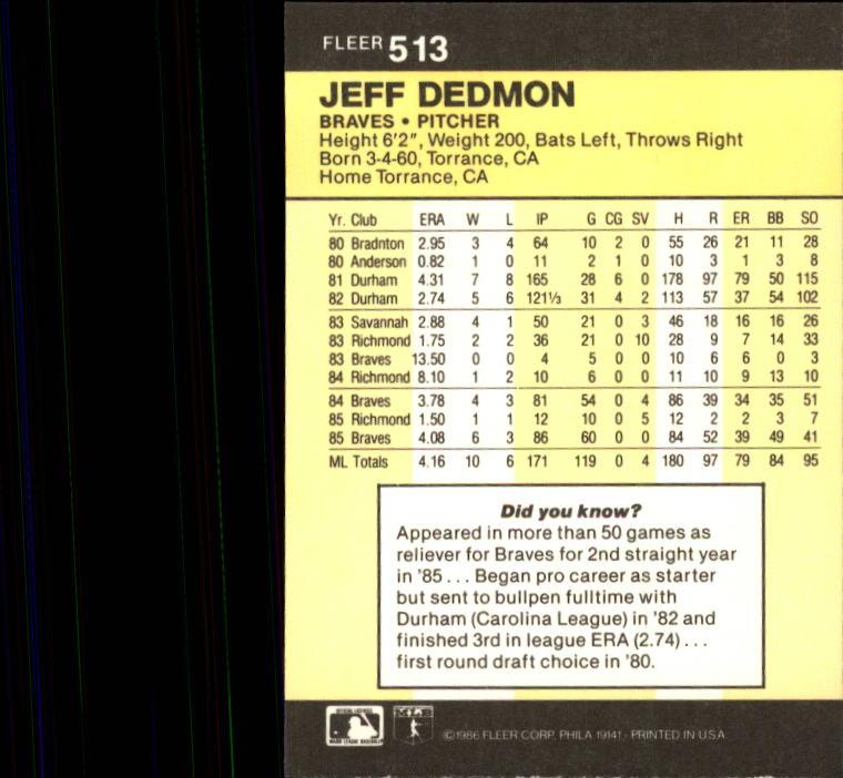 1986 Fleer #513 Jeff Dedmon back image