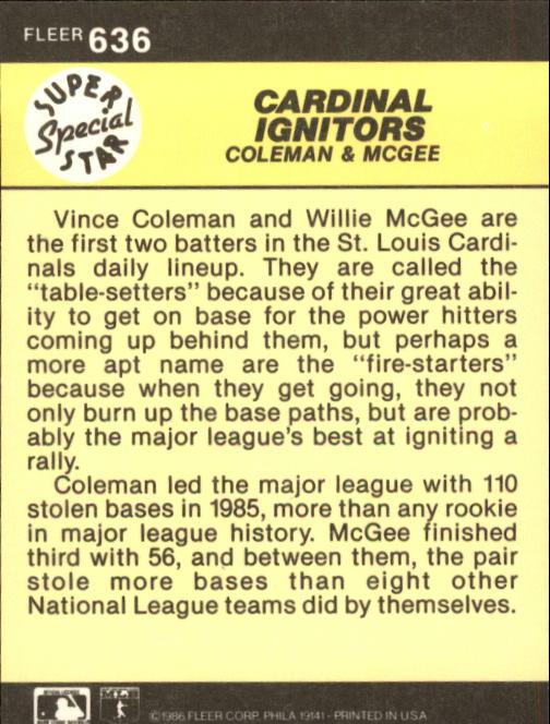 1986 Fleer #636 W.McGee/V.Coleman back image