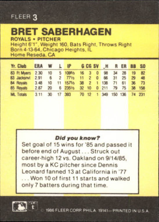 1986 Fleer Mini #3 Bret Saberhagen back image