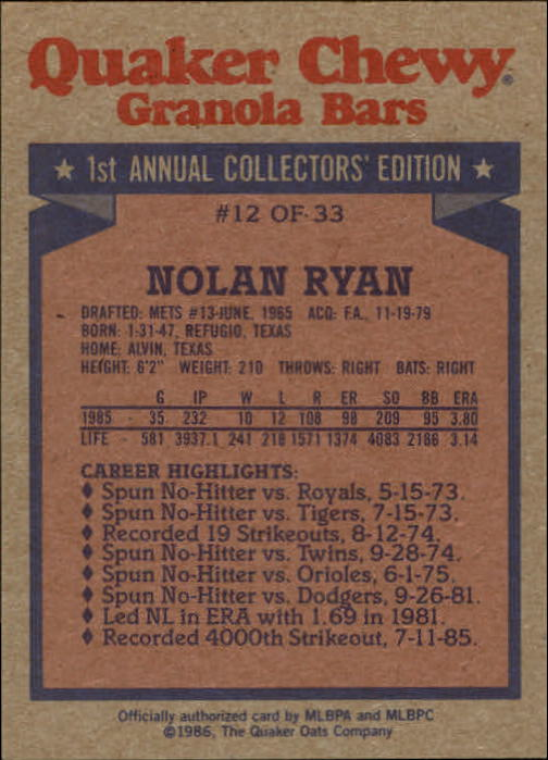 1986 Quaker Granola #12 Nolan Ryan back image