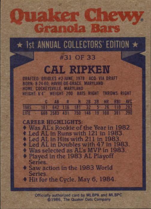 1986 Quaker Granola #31 Cal Ripken back image