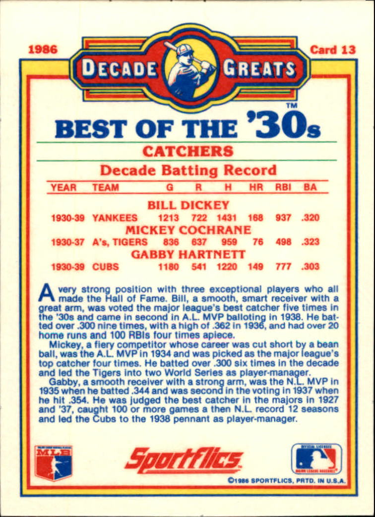 1986 Sportflics Decade Greats #13 Best '30s Catchers/Bill Dickey/Mickey Cochrane/ back image