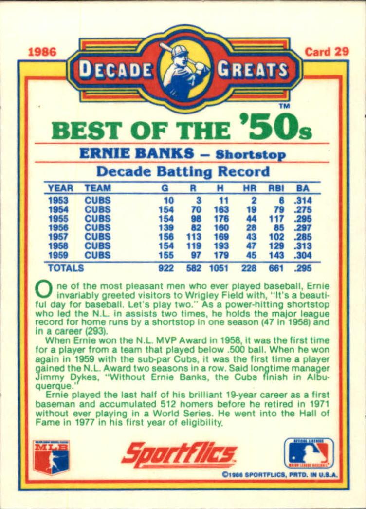 1986 Sportflics Decade Greats #29 Ernie Banks back image