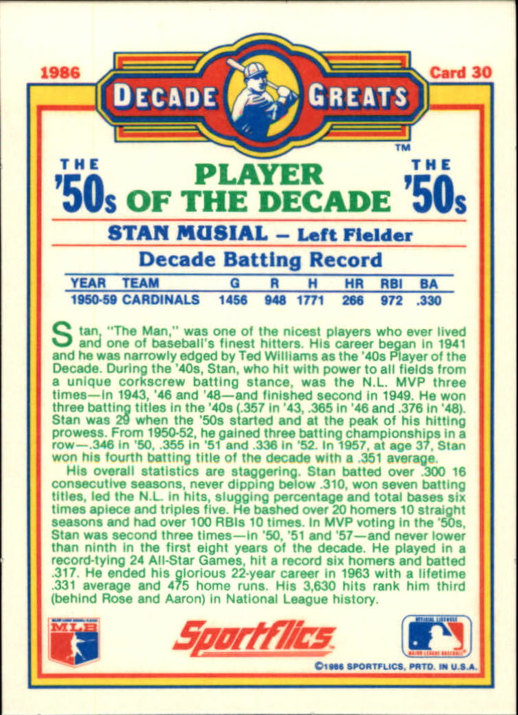1986 Sportflics Decade Greats #30 Stan Musial back image